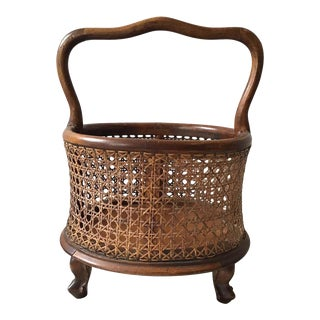 1930s Italian Hand Caned Basket For Sale