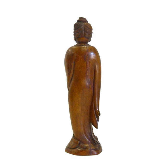 Chinese Boxwood Standing Scholar Kwan Yin Statue cs695-4 For Sale - Image 5 of 7