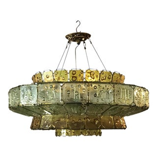 Mid-Century Fused Glass Chandelier