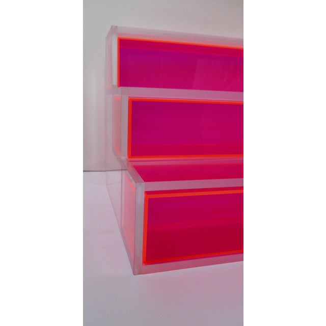 Pink Block Lucite Display Shelving For Sale - Image 4 of 10