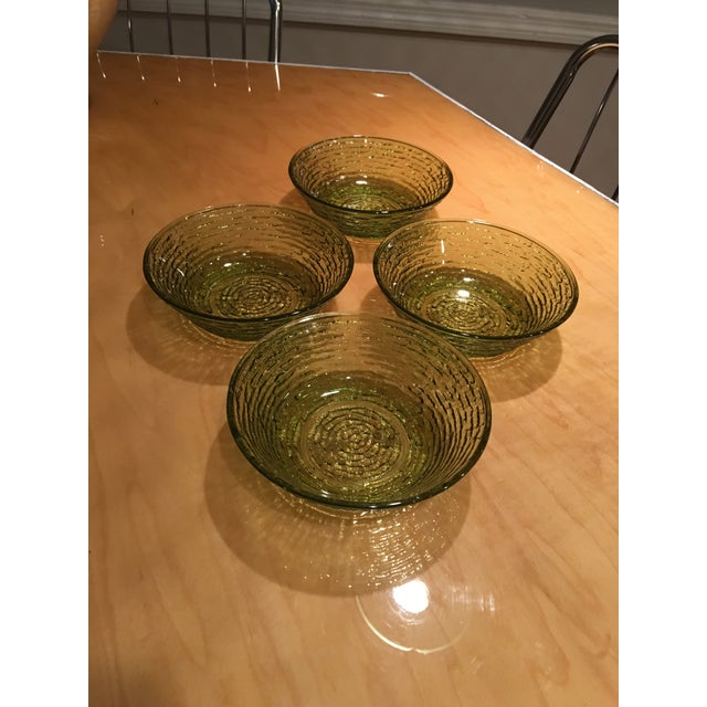 Mid-Century Modern Vintage Libbey Rock Sharpe Olive Green Bowls - Set of 4 For Sale - Image 3 of 7