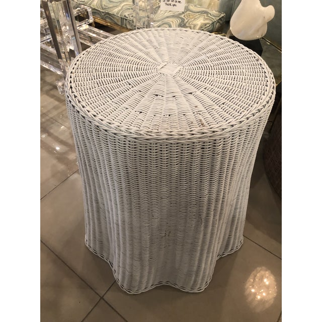 Vintage Draped Wicker Rattan Trompe L Oeil Side End Table Lacquered in Your Choice of Color For Sale In West Palm - Image 6 of 9