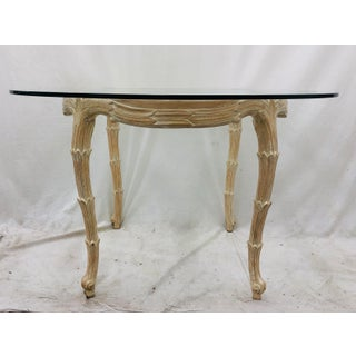 Vintage Serge Roche Faux Bois Carved Wood & Glass Top Table Preview