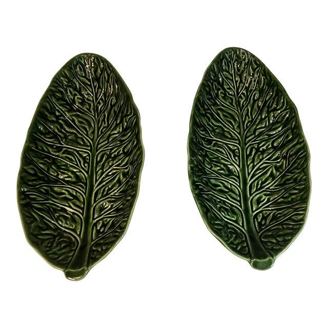 Vintage Majolica Cabbage Leaf Serving Bowls - a Pair For Sale
