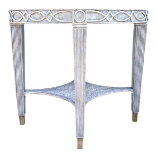 20th Century Shabby Chic Painted Distressed Rattan Accent Table For Sale