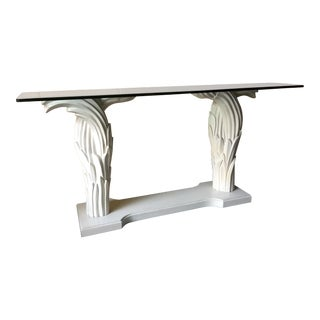 1980s Hollywood Regency Palm Leaf Console Table For Sale