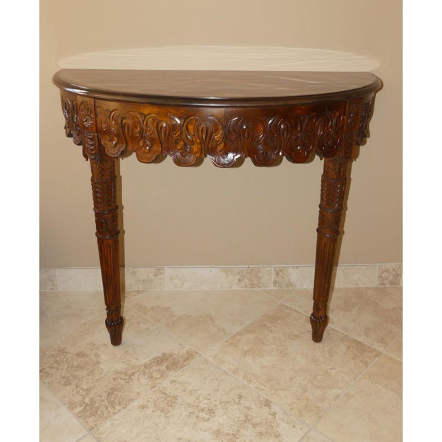Italian Hand Carved Inlaid Wood Demilune Console Table For Sale - Image 13 of 13