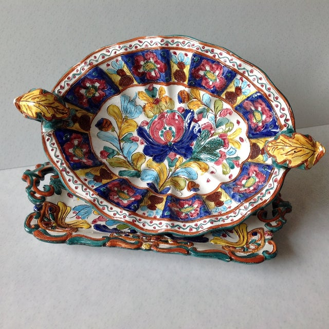 Hand-Painted Majolica Pottery Bowl & Tray - Image 3 of 11