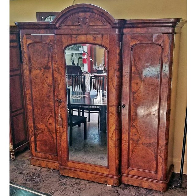 19c British Burl Walnut Breakfront 3 Door Wardrobe With Chest of Drawers For Sale - Image 4 of 13
