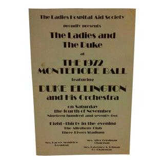 Vintage 1972 Duke Ellington Concert Poster For Sale