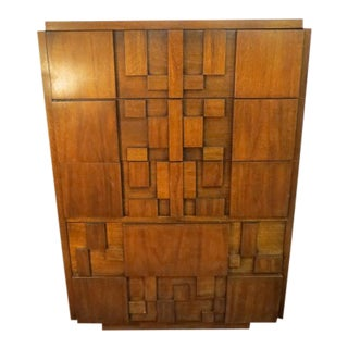 1960's Brutalist Lane Walnut Chest of Drawers For Sale