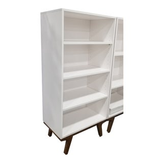 Modern West Elm White Bookcase For Sale
