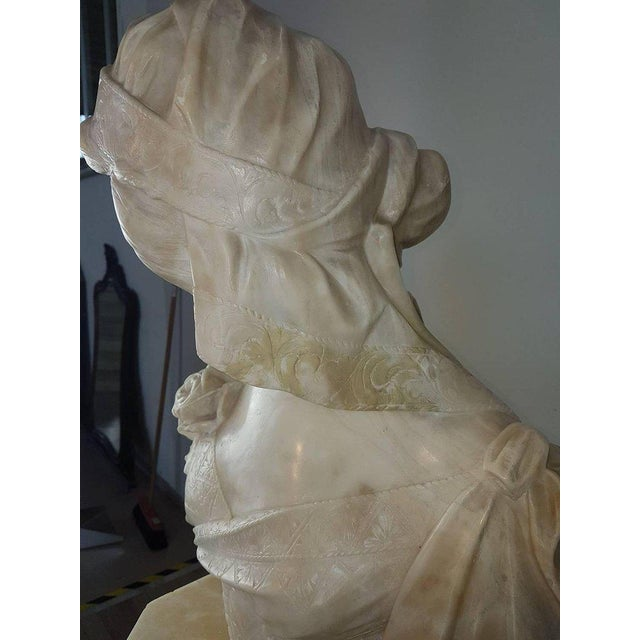 White 19th Century Italian A. Cipriani Carrara Marble Bust of a Young Woman Sculpture For Sale - Image 8 of 13