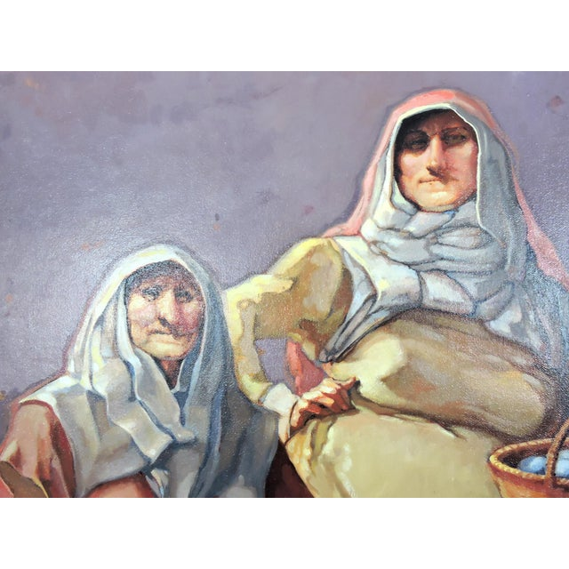 Late 20th Century 'The Market Sellers', Framed Oil Painting on Canvas For Sale - Image 4 of 8