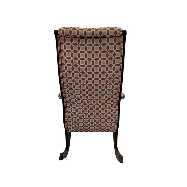 Antique Empire Rocking Chair With Romo Antara Upholstery For Sale - Image 4 of 7
