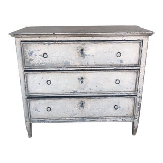 19th Century Swedish Distressed Antique White Chest of Drawers For Sale