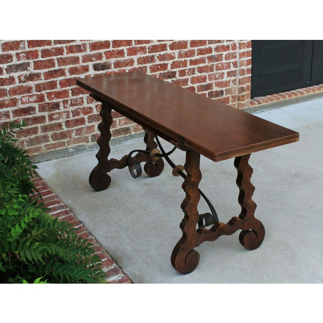 Felt Antique French Spanish Walnut Mission Catalan Dining Table Sofa Table For Sale - Image 7 of 13