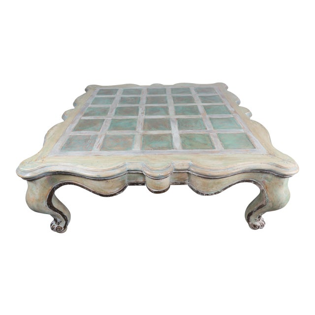 Monumental Square Scalloped French Painted Coffee Table For Sale