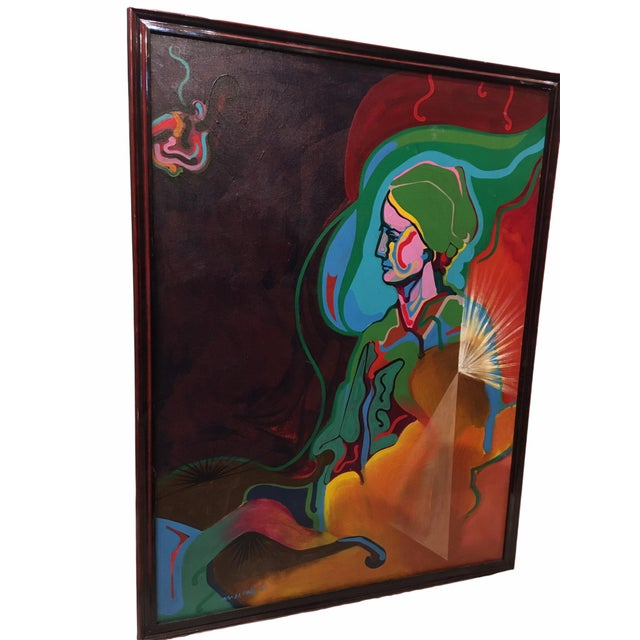 Very colorful mid-century oil on canvas painting. This figurative abstract piece is a portrait of a seated woman and...