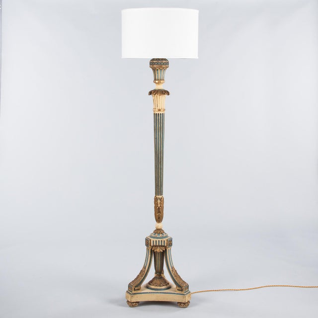 1940s Louis XVI Style Painted Wooden Floor Lamp For Sale - Image 13 of 13