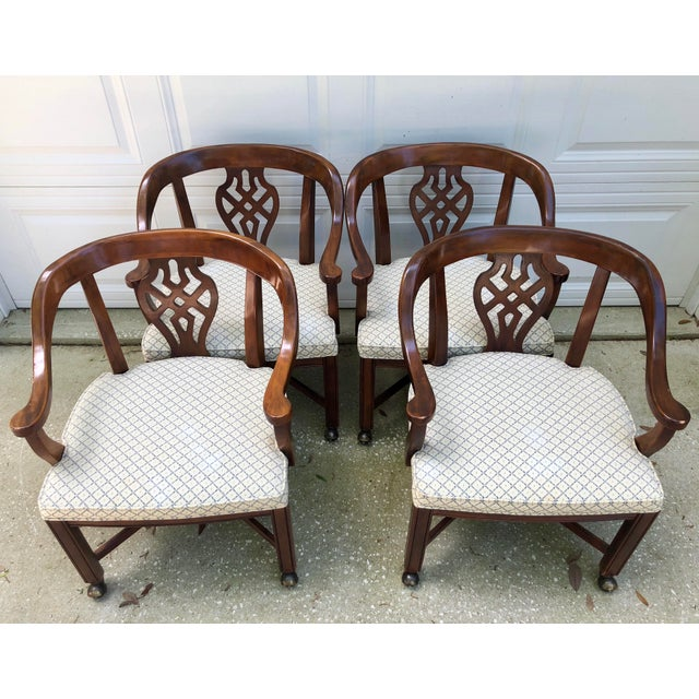 These are awesome!!! I love the formality of the chippendale back with the casualty of the casters. SO much style. Set of...