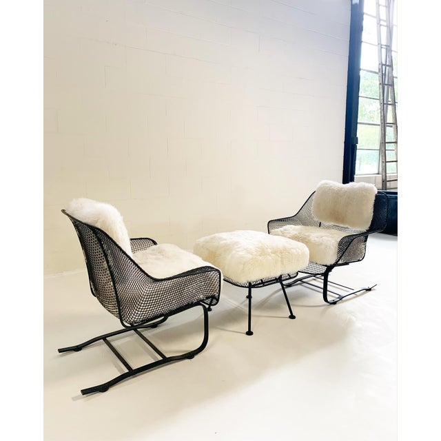 Mid-Century Modern Russell Woodard Sculptura Lounge Chairs and Ottoman With Sheepskin Cushions For Sale - Image 3 of 10