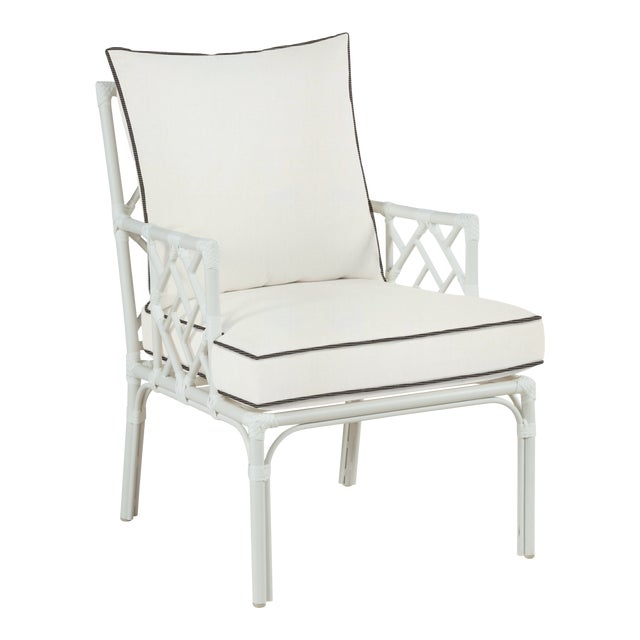 Haven Outdoor Occasional Arm Chair, White and Coal For Sale
