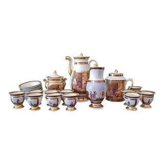 Early 19c French Old Paris Porcelain Tea and Chocolate Set - 26 Pieces For Sale