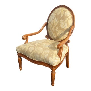 Designer Sam Moore Vintage French Country Round Back Floral Design Arm Chair For Sale