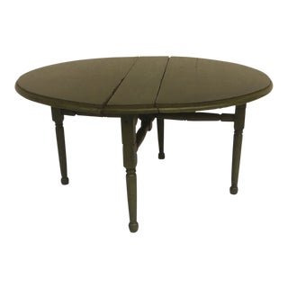 20th Century Shabby Chic Boho Small Round Green Drop Leaf Table
