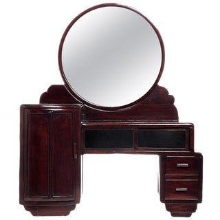 Art Deco Rosewood Mirrored Makeup Table with Sliding Glass from China, 1940s