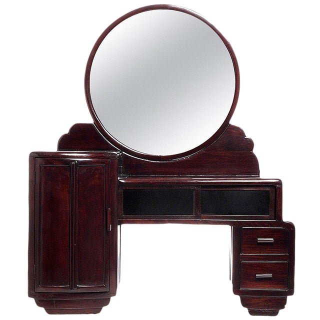 Art Deco Rosewood Mirrored Makeup Table with Sliding Glass from China, 1940s For Sale