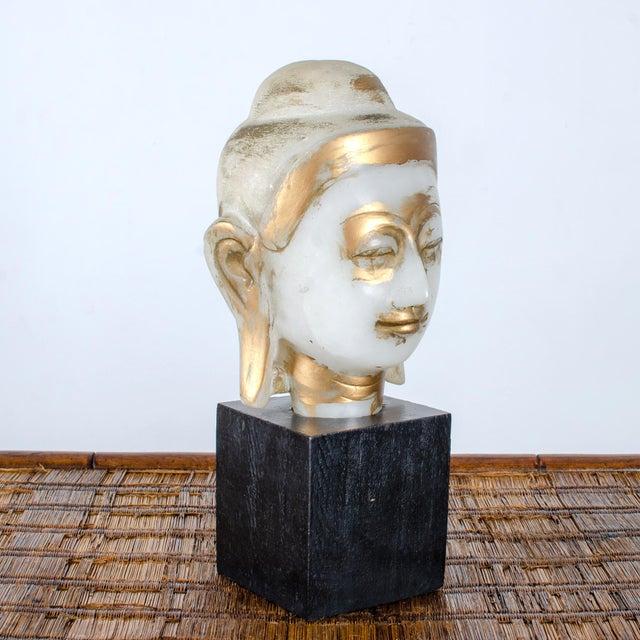 Asian Mandalay Alabaster Shakyamuni Buddha Sculpture For Sale - Image 3 of 12