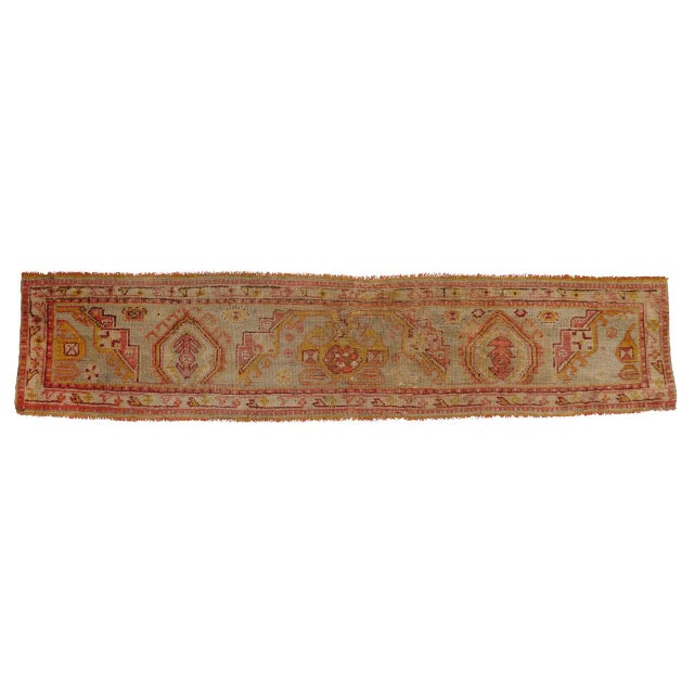 Textile Late 19th Century Antique Wagireh Turkish Oushak Hallway Runner Rug - 2′ × 8′10″ For Sale - Image 7 of 8