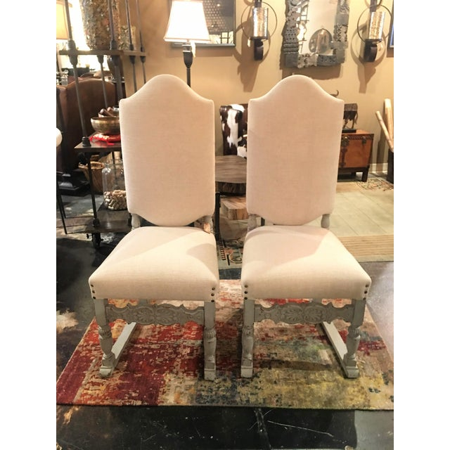 Late 19th Century Antique French Gray Blue Painted Chairs- a Pair For Sale - Image 4 of 13