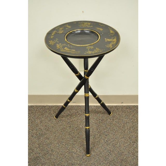 Antique Victorian English Decorated Faux Bamboo Tripod Occasional Side Table For Sale - Image 11 of 11
