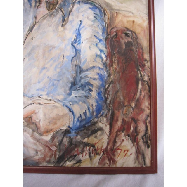 Man With Dog Vintage Portrait Painting - Image 6 of 8