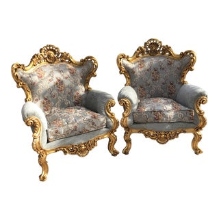1940s Vintage Baroque Rococo Chairs- A Pair For Sale