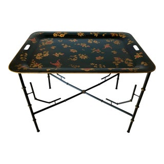 Italian Chinoiserie Tole Tray Table For Sale