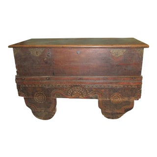 Antique Large Wooden Oriental Chest For Sale