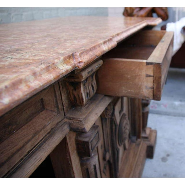 Italian Walnut & Marble Top Credenza - Image 7 of 10