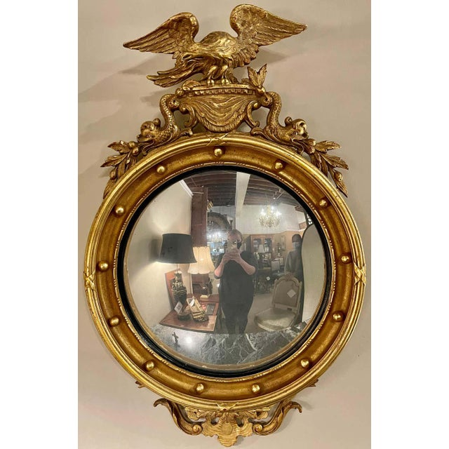 Federal Style Convex Eagle Carved Mirror, Wall, Console Mirror For Sale - Image 12 of 13