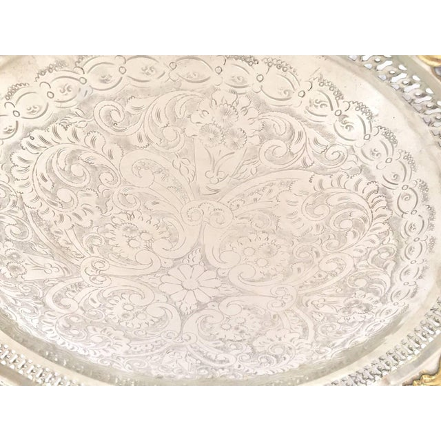 Brass Moroccan Handcrafted Silver Round Tray With Brass Overlay Moorish Designs For Sale - Image 7 of 13
