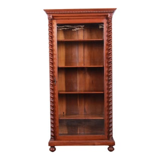 Antique English Carved Walnut Barley Twist Glass Front Bookcase, Circa 1900 For Sale