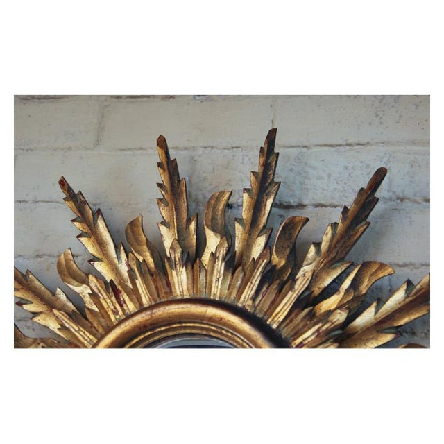 1930s Midcentury French Double Layer Sunburst Mirror With Original Mirror Glass For Sale - Image 5 of 10