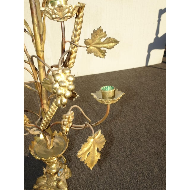 """Pair Tall 36""""h Vintage Gold Table Top Floral Candelabras Brass Candle Holders Light For Sale - Image 11 of 13"""