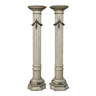 Pair 19th Century French Louis XVI Painted Pedestals For Sale