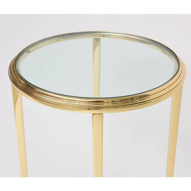Neoclassical 1960s Neoclassical Revival Round Brass Side Table For Sale - Image 3 of 10