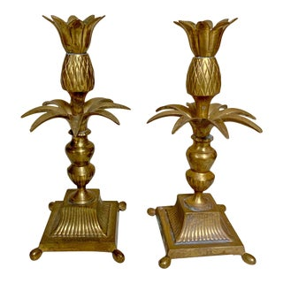 Pair of Brass Decorative Crafts Candle Holders For Sale
