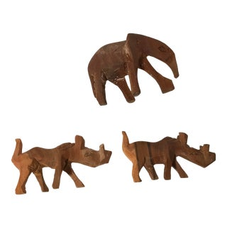 Vintage Hand Carved Wooden Animals - Set of 3 For Sale